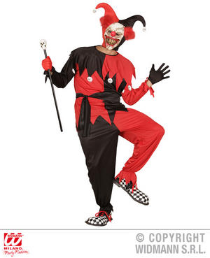Mens Male Black Red Evil Jester Fancy Dress Costume Halloween Outfit Adult