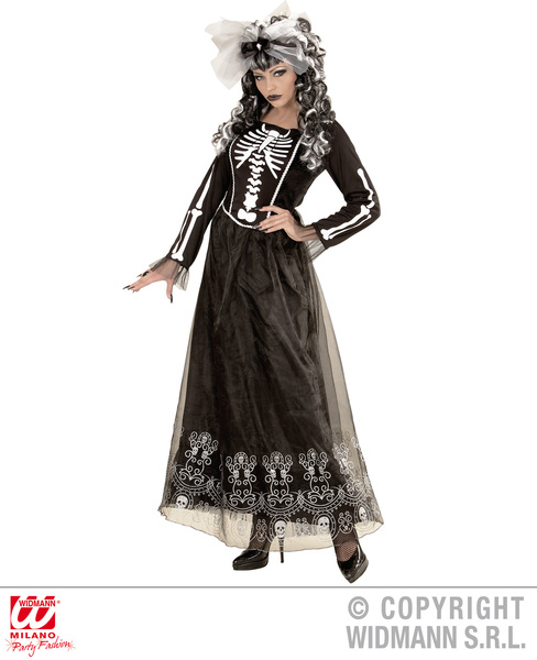 Womens Ladies Skeletria Halloween Skeleton Fancy Dress Costume Outfit Adult