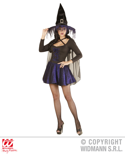 Womens Ladies Purple Witch Fancy Dress Costume Halloween Outfit Adult