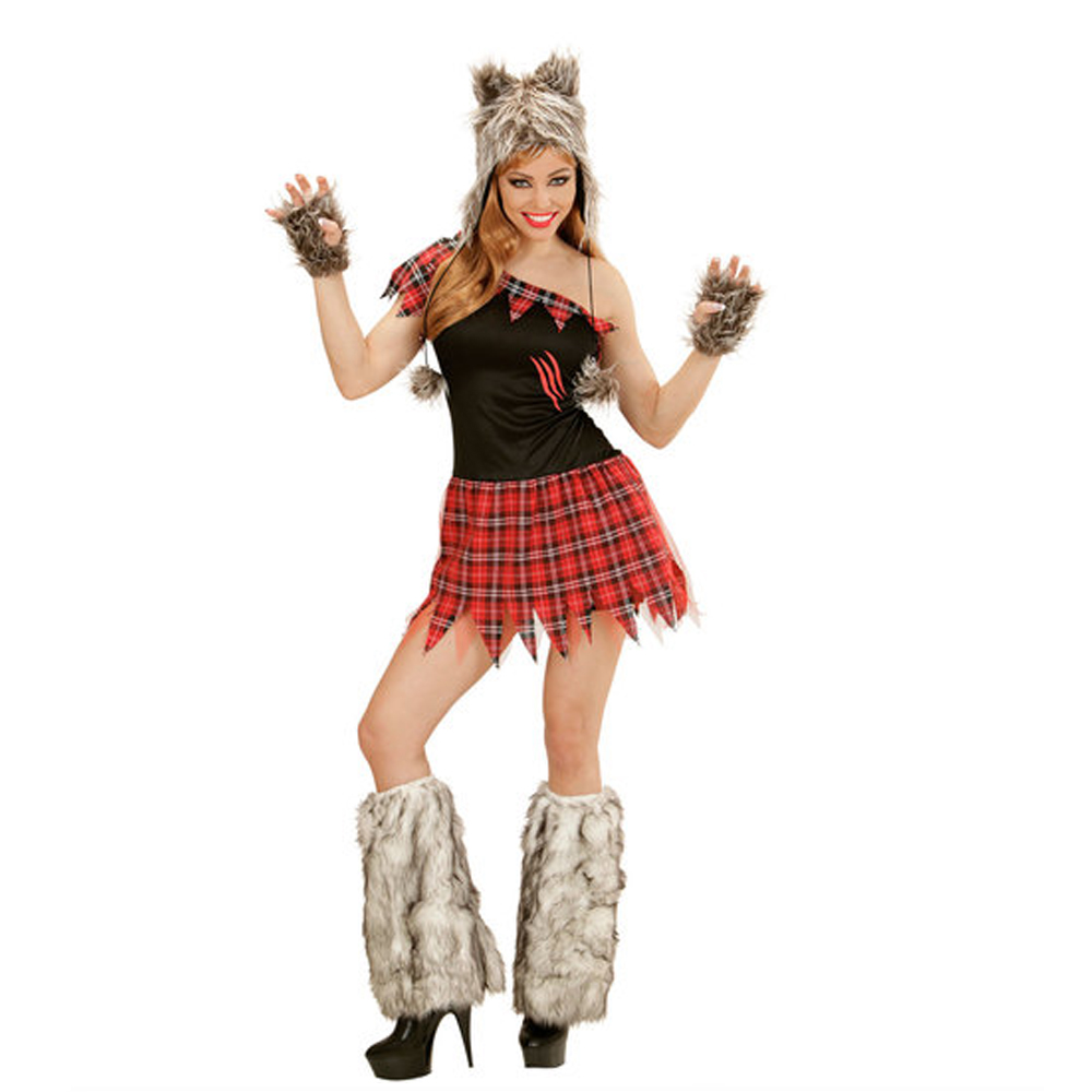 Womens Ladies Tartan Wolf Fancy Dress Costume Halloween Outfit Adult