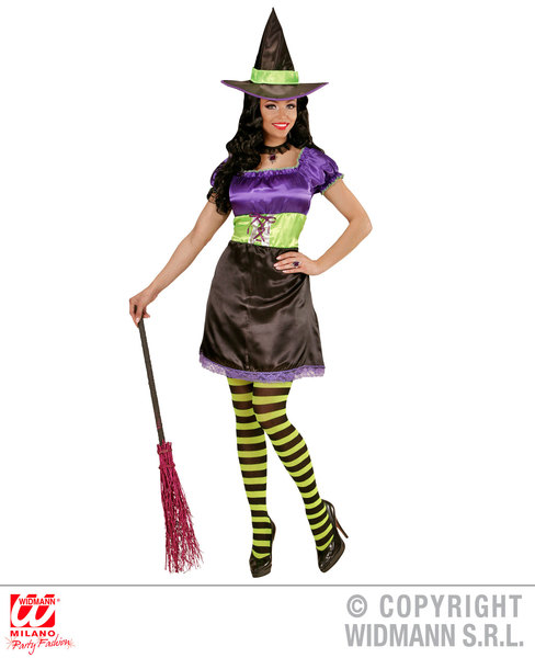 Womens Ladies Cute Witch Fancy Dress Costume Halloween Outfit Adult