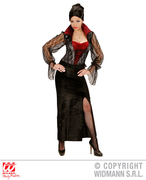Womens Ladies Gothic Vampiress Fancy Dress Costume Halloween Outfit Adult