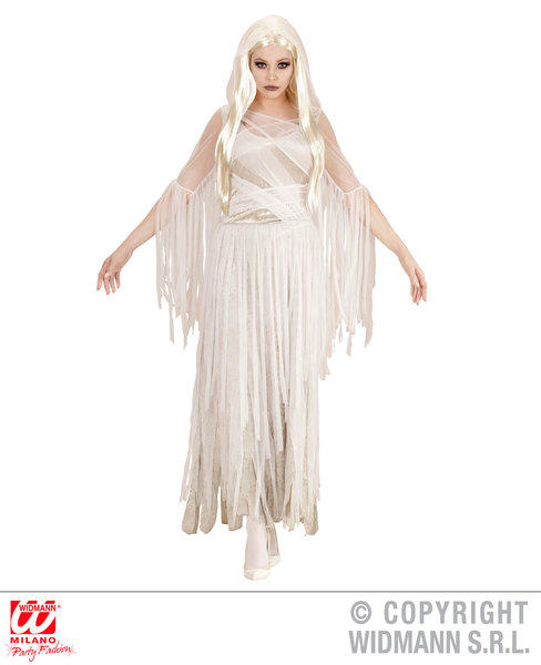 Womens Ladies Ghostly Spirit Fancy Dress Costume Halloween Ghost Outfit Adult