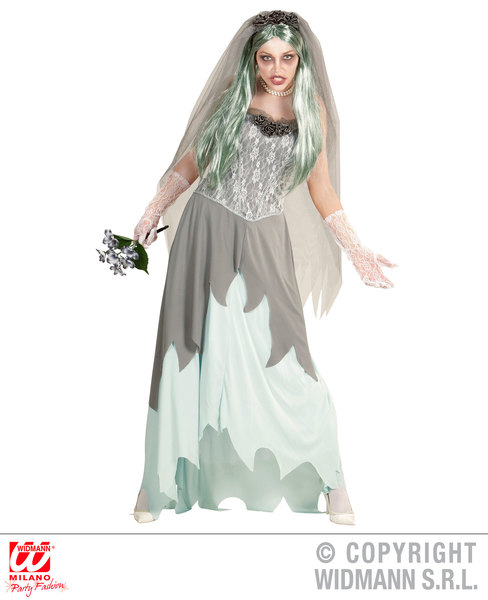 Womens Ladies Zombie Bride Halloween Fancy Dress Costume Outfit Adult