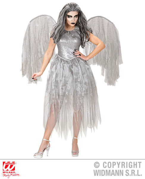Womens Ladies Silver Dark Angel Halloween Fancy Dress Costume Outfit Adult