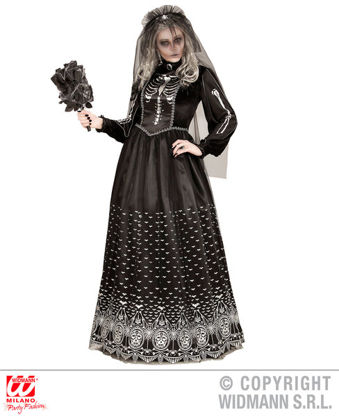 Womens Ladies Gothic Skeleton Bride Halloween Fancy Dress Costume Outfit Adult