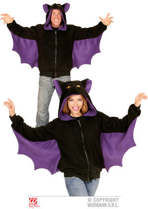 Unisex Bat Hoodie Sweatshirt Halloween Fancy Dress Costume Outfit Adult