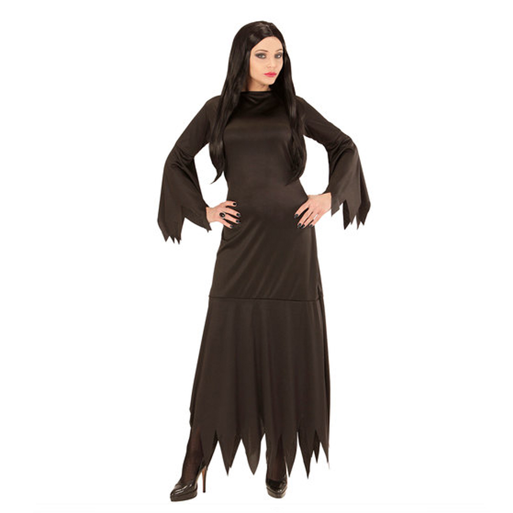 Womens Ladies Morticia Halloween Fancy Dress Costume Outfit Adult