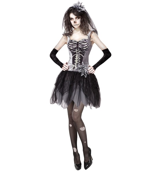 Womens Ladies Skeleton Corpse Bride Halloween Fancy Dress Costume Outfit