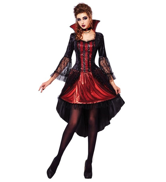 Womens Ladies Gothic Vampiress Halloween Fancy Dress Costume Outfit Adult