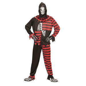 Mens Male Evil Jester Clown Halloween Fancy Dress Costume Circus Outfit Adult