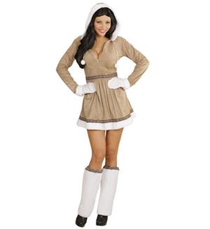 Womens Ladies Eskimo Girl Fancy Dress Costume Outfit Adult
