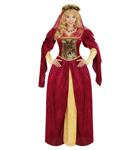 Womens Ladies Royal Queen Fancy Dress Costume Medieval Outfit Adult