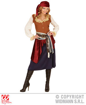 Womens Ladies Caribbean Buccaneer Fancy Dress Costume Halloween Outfit Adult