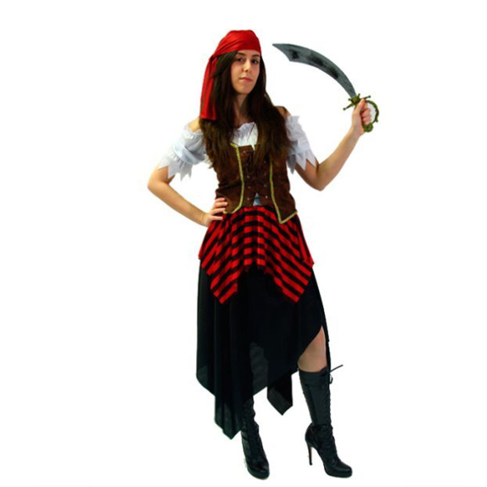 Womens Ladies Pirate Girl Halloween Fancy Dress Costume Pirates Outfit Adult