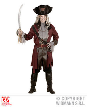 Mens Male Captain Ghost Pirate Halloween Fancy Dress Costume Outfit Adult