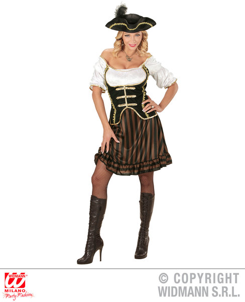 Womens Ladies Pirate Captain Fancy Dress Costume Halloween Outfit Adult