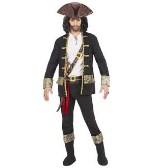 Mens Male Adult Pirate Captain Black Halloween Fancy Dress Costume Outfit