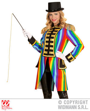 Womens Ladies Rainbow Tailcoat Fancy Dress Costume Circus Ring leader Outfit