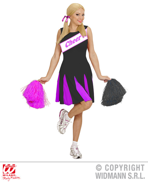 Womens Ladies Cheerleader Black Pink Fancy Dress Costume Outfit Adult