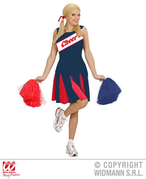 Womens Ladies Cheerleader Blue Red Fancy Dress Costume Outfit Adult