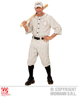 Mens Male American Baseball Player Fancy Dress Costume Outfit Adult