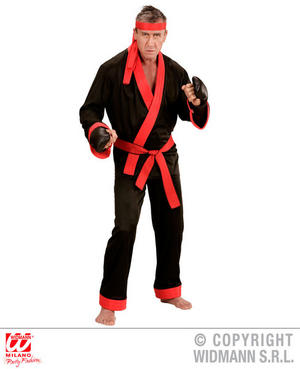 Mens Male Kick Boxer Karate Kid Fancy Dress Costume Outfit Adult