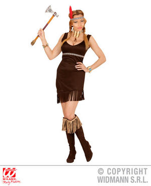 Womens Ladies Native American Girl Fancy Dress Costume Wild West Outfit Adult