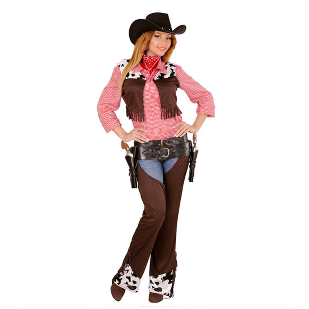 Womens Ladies Cow Girl Cowgirl Western Fancy Dress Costume Wild West Outfit Adult