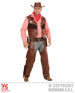 Mens Male Adult Cow Boy Western Cowboy Fancy Dress Costume Outfit