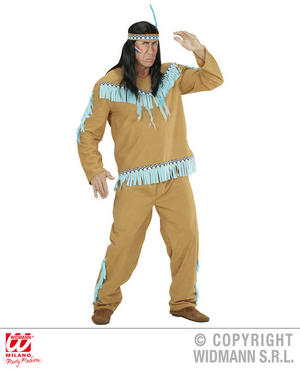 Mens Male Native American Man Beige Blue Fancy Dress Costume Outfit Adult