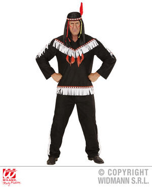 Mens Male Native American Man Black Fancy Dress Costume Outfit Adult