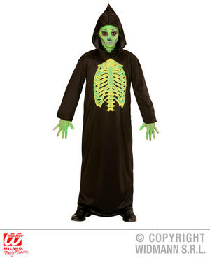 Boys Kids Childs Neon Grim Reaper Halloween Fancy Dress Costume Outfit 5-13 Yrs