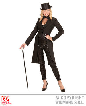 Womens Ladies Black Tailcoat Long Fancy Dress Costume Outfit Adult