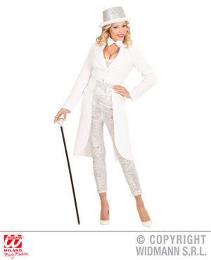 Womens Ladies White Tailcoat Fancy Dress Costume Show Girl Outfit Adult
