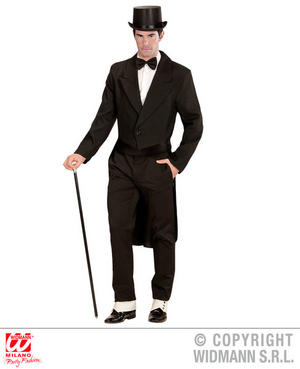 Mens Male Adult Black Tailcoat Fancy Dress Costume Victorian Gent Outfit Adult