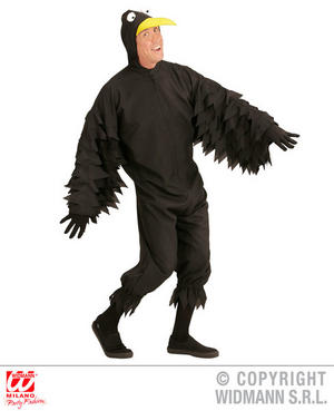 Mens Male Crow Black Bird Fancy Dress Costume Outfit Adult