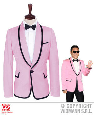 Mens Male Pink Suit Jacket Pop Star Fancy Dress Costume Outfit Adult