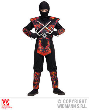 Boys Kids Childs Flaming Dragon Ninja Fancy Dress Costume Outfit 4-13 Yrs