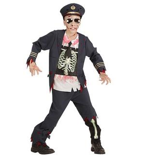 Boys Childs Zombie Police Officer Fancy Dress Costume Halloween Outfit 5-13 Yrs