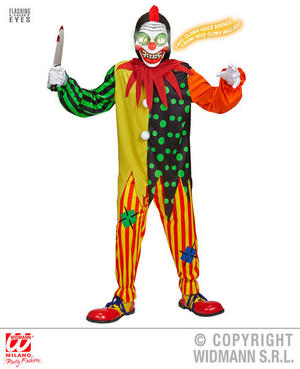 Boys Kids Childs Horror Clown Halloween Fancy Dress Costume Outfit 5-16 Yrs