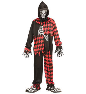 Boys Kids Childs Evil Jester Halloween Fancy Dress Costume Circus Outfit 5-16 Yrs