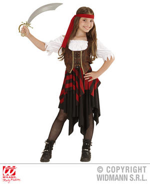Girls Kids Childs Pirate Girl Fancy Dress Costume Halloween Outfit 5-13 Yrs