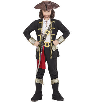 Boys Childs Pirate Captain Black Halloween Fancy Dress Costume Outfit 5-16 Yrs