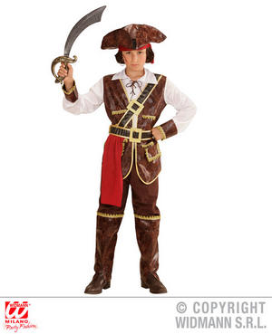 Childs Caribbean Pirate Captain Halloween Fancy Dress Costume Outfit 4-13 Yrs