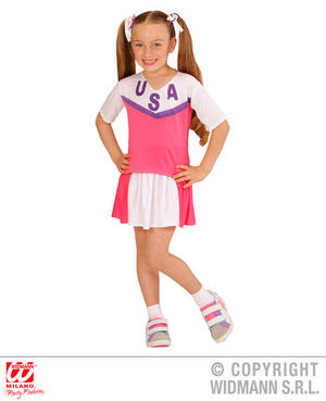 Girls Kids Childs American Cheerleader Fancy Dress Costume Outfit 4-13 Yrs