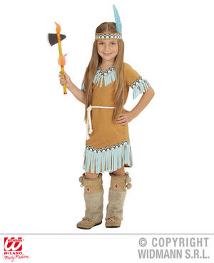 Girls Kids Childs Native American Beige Blue Fancy Dress Costume Outfit 2-13 Yrs