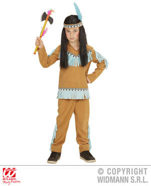 Boys Kids Childs Native American Beige Blue Fancy Dress Costume Outfit 2-13 Yrs