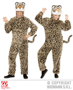 Unisex Adult Plush Leopard Fancy Dress Costume Animal Outfit