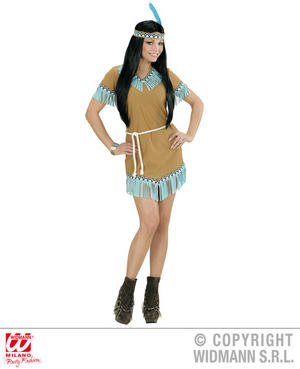 Womens Ladies Indian Woman Beige Blue Fancy Dress Costume Outfit Adult